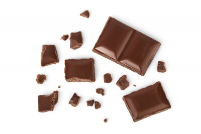 Tapeta piece of chocolate isolated on white background with clipping path. . Top view. Flat lay.