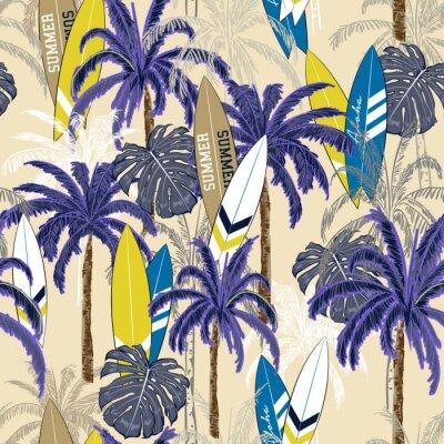 Tapeta Piękna bezszwowa ręka rysuje tropikalnego wzór z drzewkiem palmowym, Dennym latem bezszwowym z drzewkami palmowymi, wyspa liśćmi i surfboards