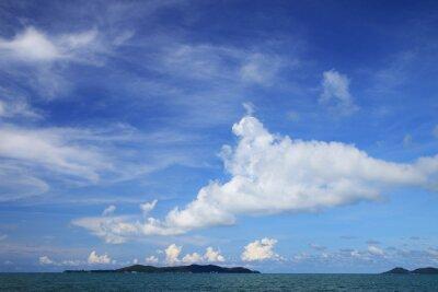 piękna wyspa raj, błękitne niebo, zielone morze Zobacz tło