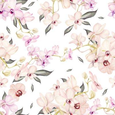 Tapeta Piękne akwarela wzór z orchidei kwiaty. Ilustracja.