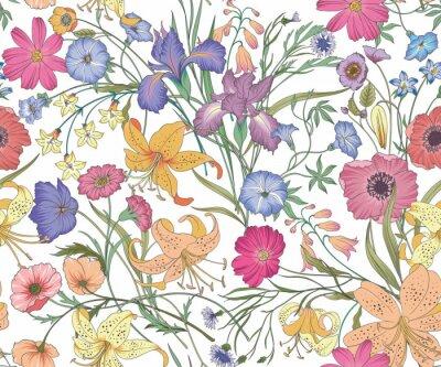 Tapeta Piękne bez szwu kwiatowy wzór. Pole kwiatów