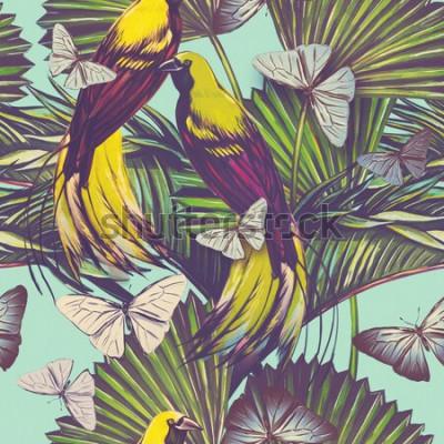 Tapeta Pięknej bezszwowej rocznik tropikalnej dżungli kwiecisty deseniowy tło. Akwarela egzotyczny ptak, motyle i liście palmowe, egzotyczny nadruk