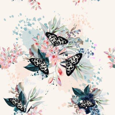 Tapeta Piękny artystyczny wzór z kwiatami i motylami w wiosna brzoskwiniowych kolorach