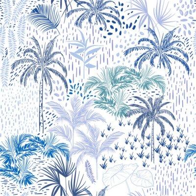 Tapeta Piękny bezszwowy itropical lasu wzór na białym tle. Krajobraz z palmami, egzotycznymi dzikimi roślinami