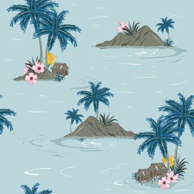 Tapeta Piękny bezszwowy tropikalny wyspa wzór na zielonym oceanu tle. Krajobraz z drzew palmowych, plaży i oceanu wektor ręcznie rysowane stylu.