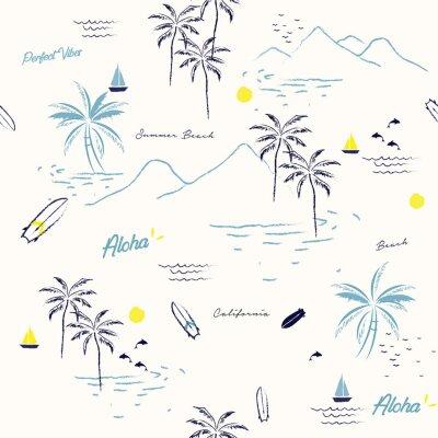 Tapeta Piękny bezszwowy wyspa wzór na białym tle. Krajobraz z drzew palmowych, plaży i oceanu wektor ręcznie rysowane stylu.