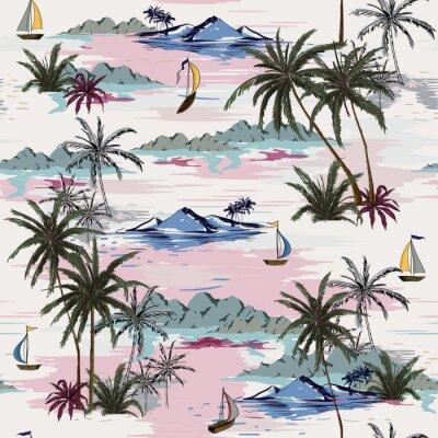 Tapeta Piękny bezszwowy wyspa wzór na białym tle. Krajobraz z palmami, plażą i oceanu wektorem