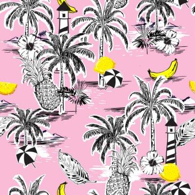 Tapeta Piękny bezszwowy wzór wyspy. Krajobraz z palmami, owocami, kwiatem hibiskusa, bananem, pomarańczą, plażą i oceanem wektor ręcznie rysowane stylu