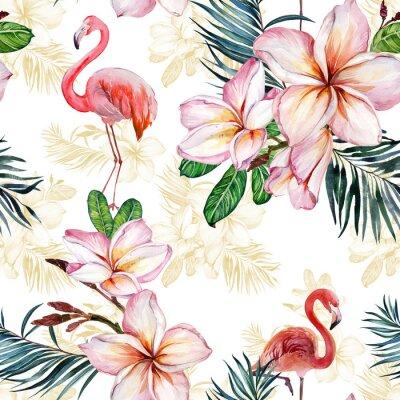 Tapeta Piękny flaming i plumeria kwitniemy na białym tle. Egzotyczny tropikalny wzór. Malarstwo Watecolor. Ręcznie malowane ilustracji.