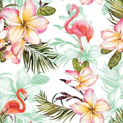 Tapeta Piękny flaming i różowy plumeria kwitnie na białym tle. Egzotyczny tropikalny wzór. Malarstwo Watecolor. Ręcznie malowane ilustracji.