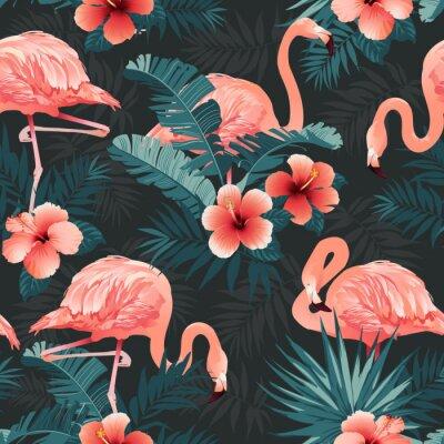 Tapeta Piękny flaming ptak i tropikalny tło kwiaty. Wektor bez szwu deseń.