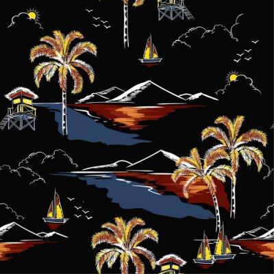 Tapeta Piękny hawajski bezszwowe wyspa wektor wzór. Krajobraz z drzew palmowych, plaży i oceanu wektor ręcznie rysowane styl na czarnym tle koloru