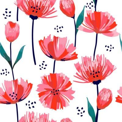 Tapeta Piękny letni świeżo Modny Dziki kwitnący kwiat różowy tulipanowy wzór w stylu rysowania ręcznego