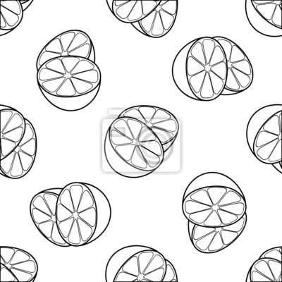 Piękny ogród - Jednolite wzór z dwóch połówek cytryny