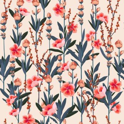 Tapeta Piękny stylowy kwiatowy wzór ogrodowy w wielu rodzajach kwiatów. Tropikalny botaniczny. Tekstura wektor bez szwu. Moda drukuje. Drukowanie w ręcznie rysowanym stylu