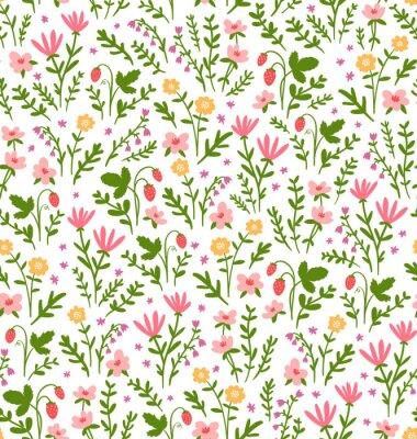 Tapeta Piękny szwu z kwiatów dziedzinie i truskawki