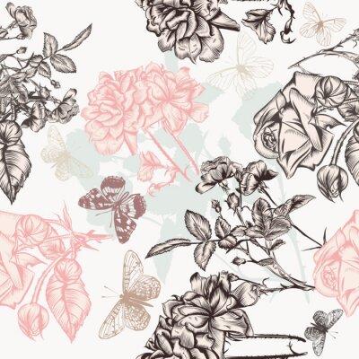 Tapeta Piękny wzór tapety z wygrawerowanym róż i motyli