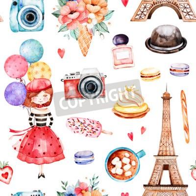 Tapeta Piękny wzór z wieżą Eiffla, aparatem, słodyczami, kapeluszem, bukietami, perfumami, młodą dziewczyną, wielobarwnymi balonami i wieloma innymi akwarelami. Zestaw Paris. Idealny do tapet, druku, projekt