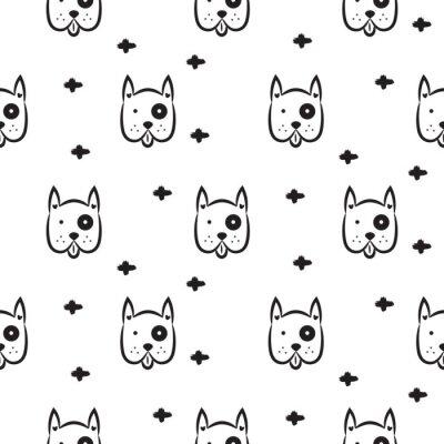 Tapeta Pies skandynawskich Wektor bezszwowych deseń monochromatycznych. Czarno-biała głowa szczeniak rasy z krzyżami tła do druku materiałów włókienniczych i tapety.