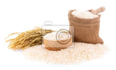 Tapeta Pile of white rice on white background