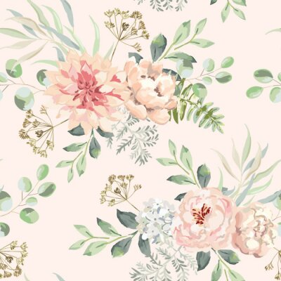 Tapeta Pink dahlia, rose, peony flowers with green leaves bouquets, blush background. Floral illustration. Vector seamless pattern. Botanical design. Nature summer plants. Romantic wedding
