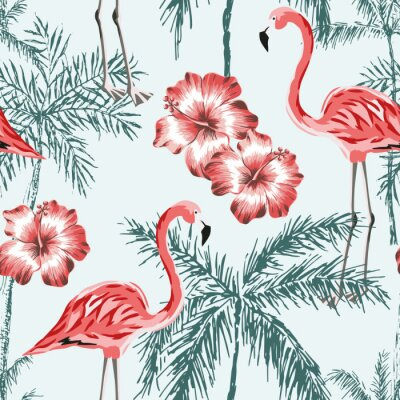 Tapeta Pink flamingo, palm trees silhouettes, red hibiscus flowers, light blue background. Vector floral seamless pattern. Tropical illustration. Exotic plants and birds. Summer beach design. Paradise nature