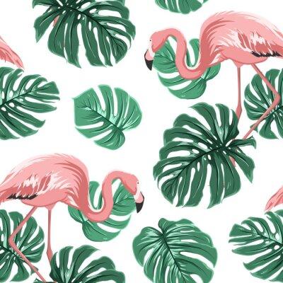 Tapeta Pink Flamingo ptaków i turkusowy zielony monstera pozostawia egzotycznych tropikalnych dżungli ramy bez szwu deseń na białym backround. Ilustracji wektorowych projektu do dekoracji, moda, tekstylia, t