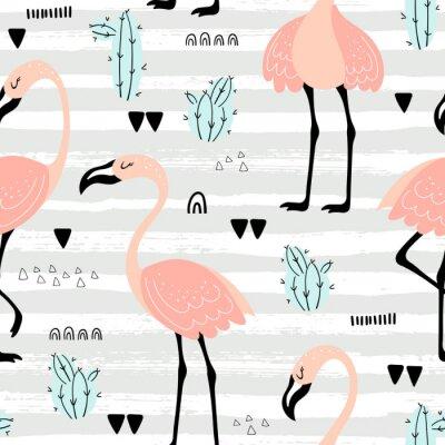 Tapeta Pink flamingos seamless pattern