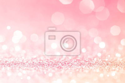 Tapeta Pink gold, pink bokeh,circle abstract light background,Pink Gold shining lights, sparkling glittering Valentines day,women day or event lights romantic backdrop.Blurred abstract holiday background.