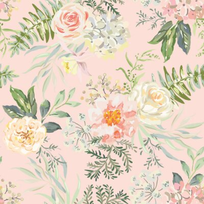 Tapeta Pink rose, peony flowers with green leaves bouquets, peach background. Floral illustration. Vector seamless pattern. Botanical design. Nature summer plants. Romantic wedding