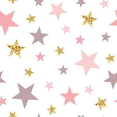 Tapeta Pink seamless pattern gold glitter stars pink for Christmas backgound or baby shower sweet girl design