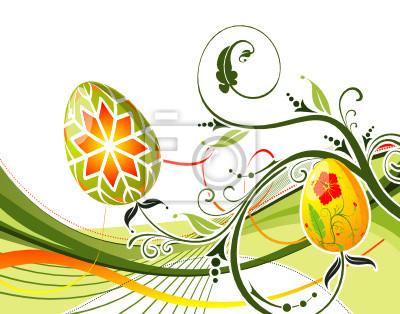 Pisanki z ornamentem na tle kwiat z fal