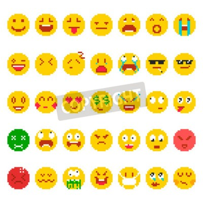 Tapeta Pixel emoji set. Funny faces small images, emotion symbols, mood icons used in electronic communication, cute facial expressions. Vector flat style cartoon illustration isolated on white background.