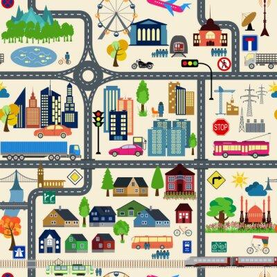 Tapeta Plan miasta generatora. Mapa przykładem miasta. Elementy do tworzenia