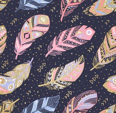 Tapeta Plemienny boho aztec niekończący się tło. Ręcznie rysowane ilustracji.