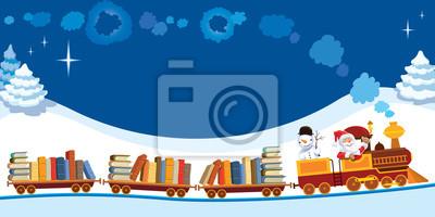 Pociąg Boże Narodzenie z książkami