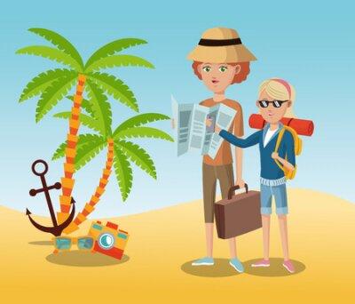 podróżne okulary kamery turystyczne kotwica palmy piasek plaża wektor ilustracja eps 10