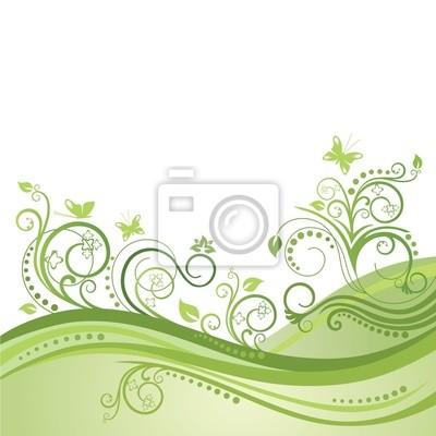 Pole zielone wiosny, kwiaty i motyle