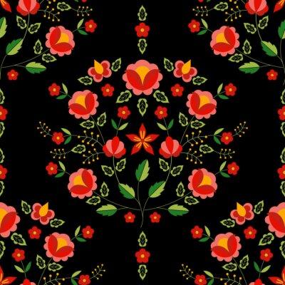 Tapeta Polski ludowy wektor. Kwiatowy ornament etniczne. Słowiański druk wschodnioeuropejski. Bezszwowa konstrukcja kwiatowa na artystyczną poszewkę na poduszkę, kocyk boho, dywan gypsy, szalik z haftem, mat