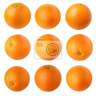 Tapeta Pomarańcze wyizolowanych na białym tle.