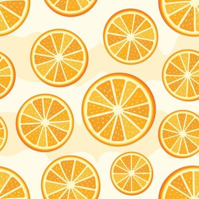 Tapeta Pomarańczowy krojony wzór. Bezszwowe tło plastry pomarańczy. Wektor pomarańczowy wzór