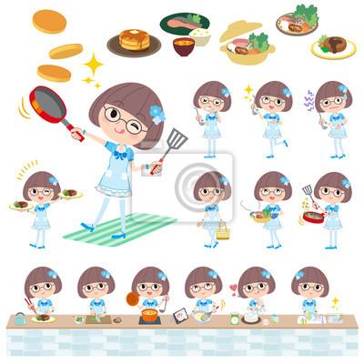 Pop idol w niebieskim stroju gotowania