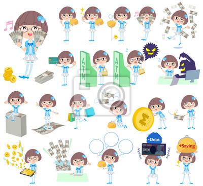 Pop idol w niebieskim stroju pieniędzy