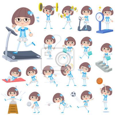 Pop idol w niebieskim stroju Sport i ćwiczenia