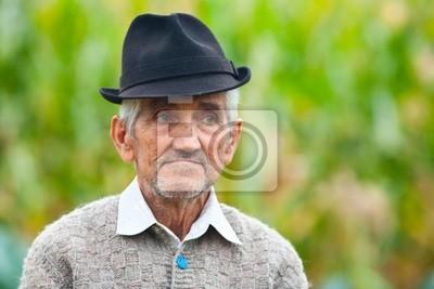 Portret pomarszczone i wyraziste, stary rolnik