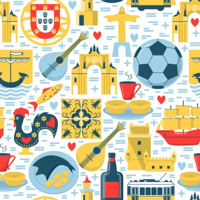 Tapeta Portugal seamless pattern with icons in flat style
