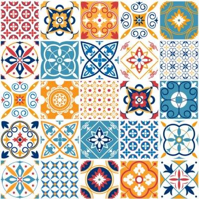 Tapeta Portugalia wzór. Rocznik tekstura śródziemnomorska ceramiczna płytka. Geometryczne płytki wzory i ściany druk tekstury wektor zestaw