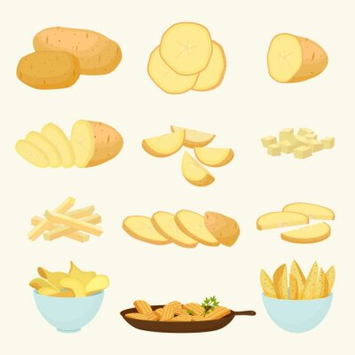 Tapeta Potatoes and snacks from it set. Golden vegetable for making chips and frying organic staple for agriculture round wedges for side dish and nutritious delicious diet. Vector cartoon agriculture.
