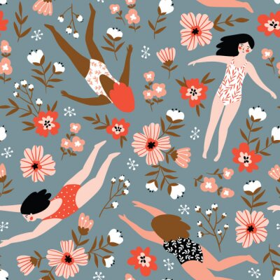 Tapeta Powtarzane tło z postaciami młodych dziewcząt w strojach kąpielowych różnych narodowości. Ilustracja wektorowa ładny w stylu wyciągnąć rękę. Kolekcja pływacka. Bezszwowy kwiecisty wzór.
