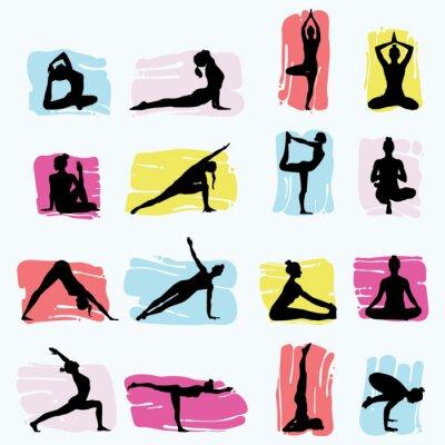 Tapeta PrintHand Drawn Yoga Sillhouettes, illustration set, vector eps10